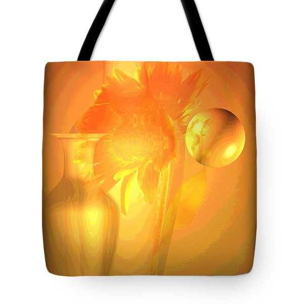 Sunflower Orange With Vases Posterized Tote Bag by Joyce Dickens