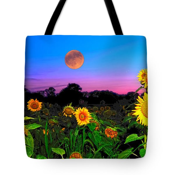 Sunflower Patch And Moon  Tote Bag by Randall Branham