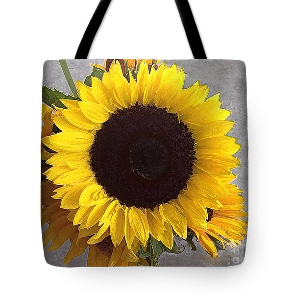 Sunflower Photo With Dry Brush Filter Tote Bag