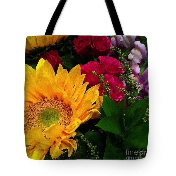 Tote Bag featuring the photograph Sunflower Reflections by Meghan at FireBonnet Art