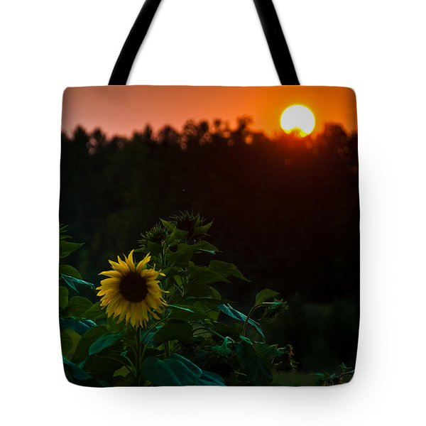 Tote Bag featuring the photograph Sunflower Sunset by Cheryl Baxter