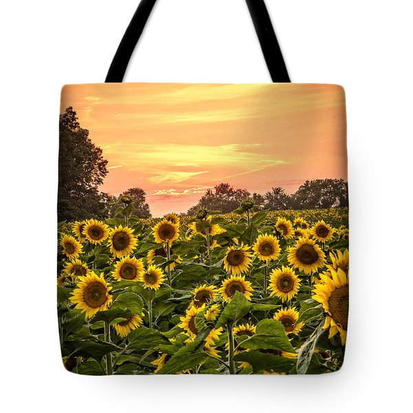 Tote Bag featuring the photograph Sunflower Sunset by Steven Bateson