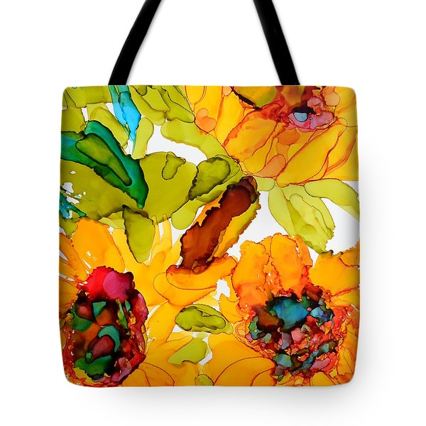 Sunflower Trio Tote Bag by Vicki  Housel