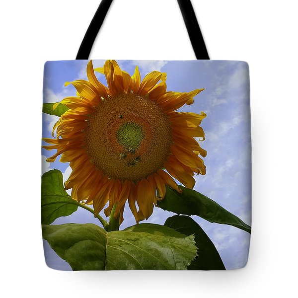 Sunflower With Busy Bees Tote Bag by Chris Flees