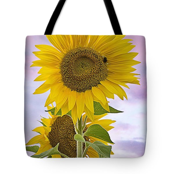 Sunflower With Colorful Evening Sky Tote Bag