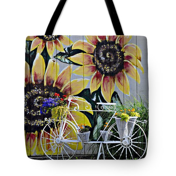 Sunflowers And Bicycle Tote Bag