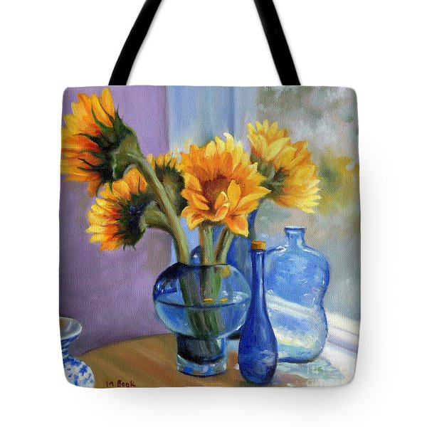 Sunflowers And Blue Bottles Tote Bag