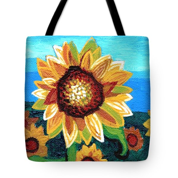 Sunflowers And Blue Sky Tote Bag by Genevieve Esson