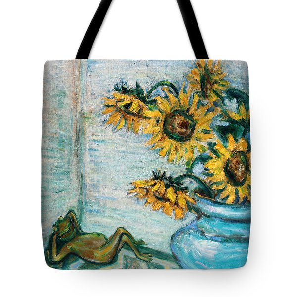 Sunflowers And Frog Tote Bag by Xueling Zou