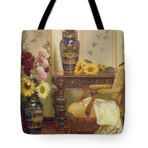 Sunflowers And Hollyhocks Tote Bag by Kate Hayllar