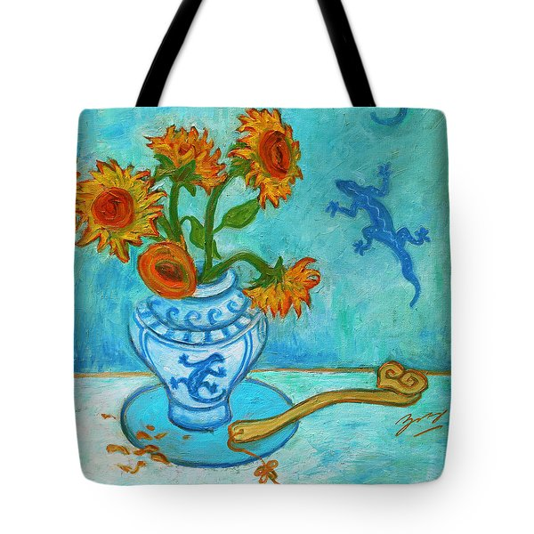 Tote Bag featuring the painting Sunflowers And Lizards by Xueling Zou
