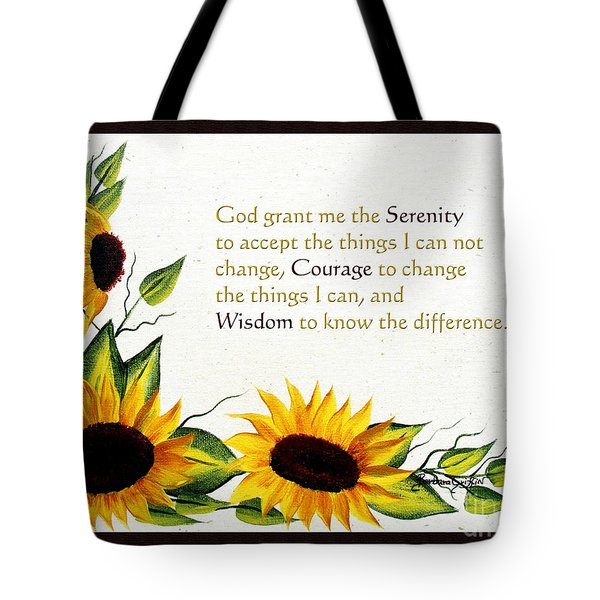 Sunflowers And Serenity Prayer Tote Bag