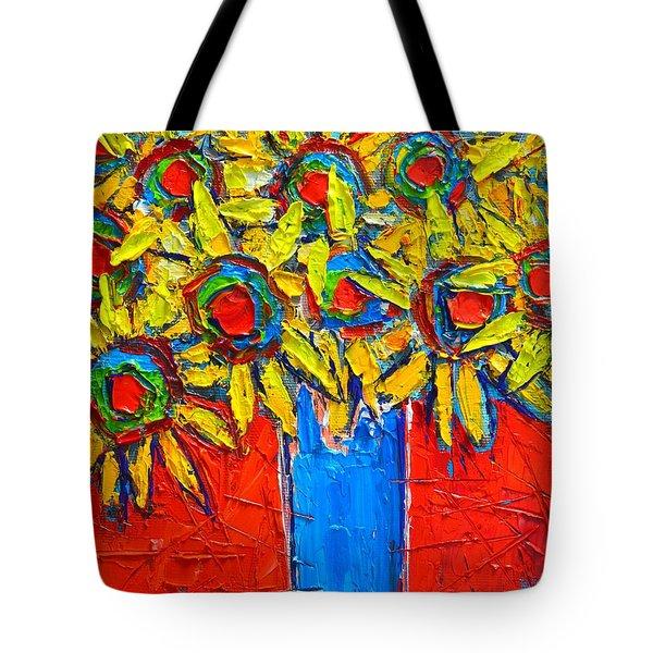 Sunflowers Bouquet In Blue Vase Tote Bag by Ana Maria Edulescu