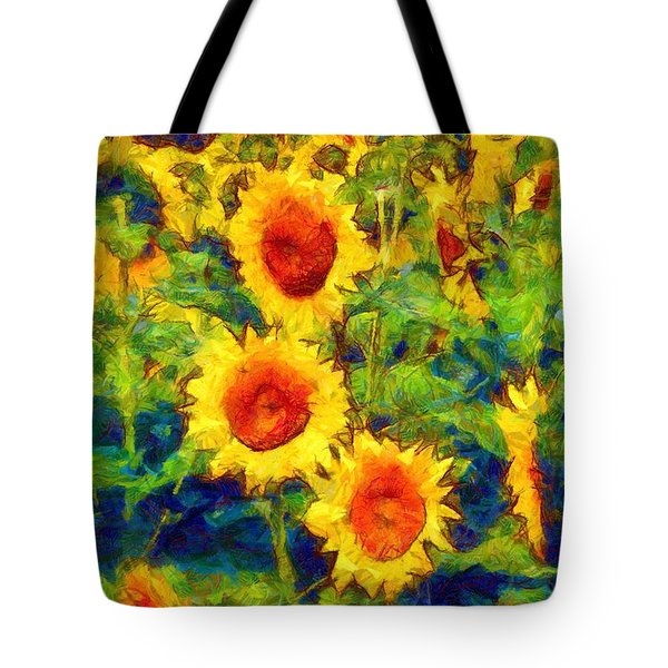 Sunflowers Dance In A Field Tote Bag by Janine Riley