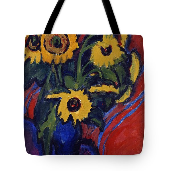 Sunflowers Tote Bag by Ernst Ludwig Kirchner