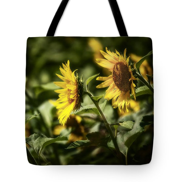 Tote Bag featuring the photograph Sunflowers In The Wind by Steven Sparks