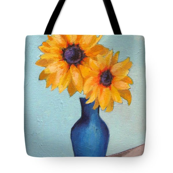 Sunflowers In A Blue Vase Tote Bag by Venus