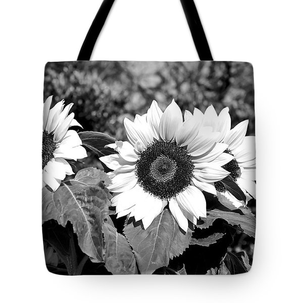 Sunflowers In Black And White Tote Bag by Kaye Menner