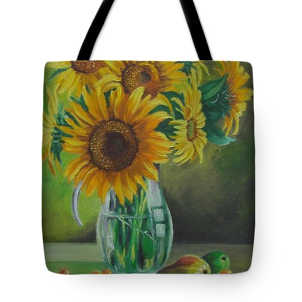 Sunflowers In Glass Jug Tote Bag