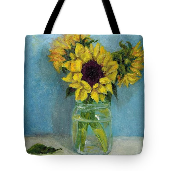 Sunflowers In Mason Jar Tote Bag