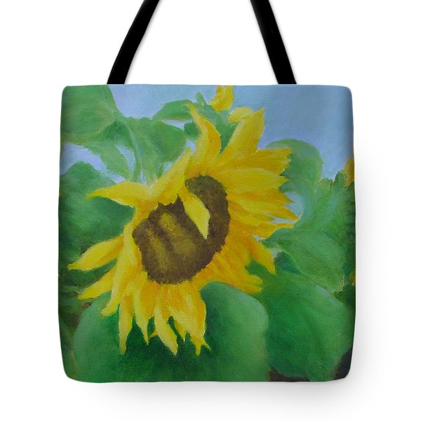 Sunflowers In The Wind Colorful Original Sunflower Art Oil Painting Artist K Joann Russell           Tote Bag