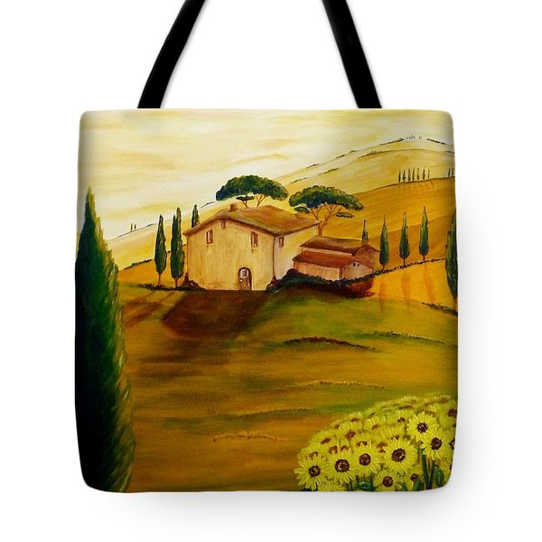 Sunflowers In Tuscany Tote Bag by Christine Huwer