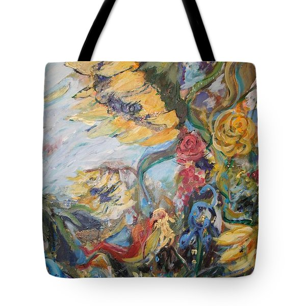 Sunflowers On A Windy Day Tote Bag by Avonelle Kelsey