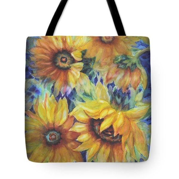 Sunflowers On Blue I Tote Bag