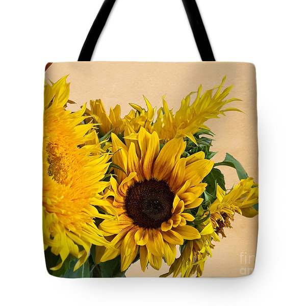Sunflowers On Old Paper Background Art Prints Tote Bag