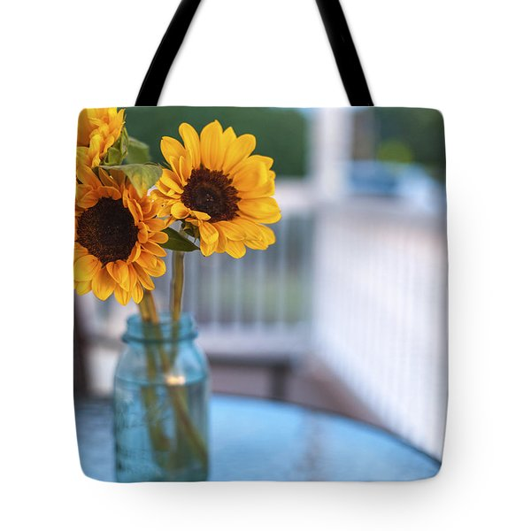 Sunflowers On The Porch Tote Bag