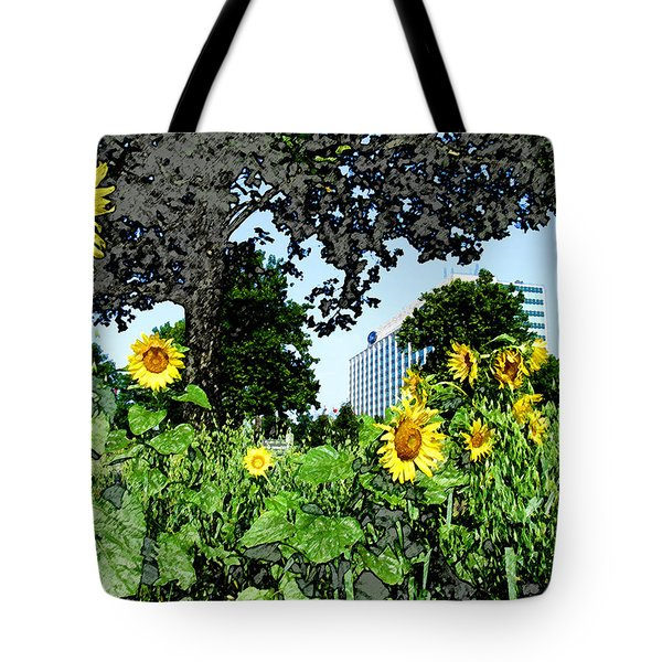 Sunflowers Outside Ford Motor Company Headquarters In Dearborn Michigan Tote Bag by Design Turnpike