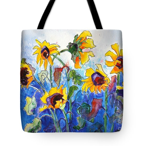 Tote Bag featuring the painting Sunflowers by Priti Lathia