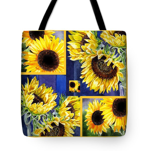 Tote Bag featuring the painting Sunflowers Sunny Collage by Irina Sztukowski