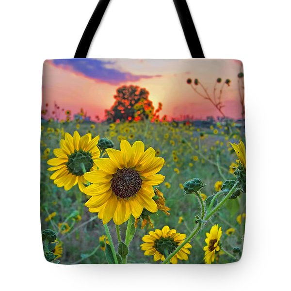 Sunflowers Sunset Tote Bag