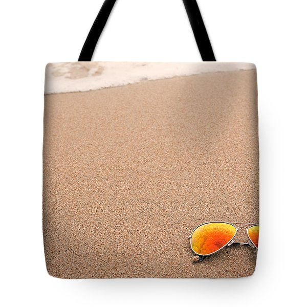 Sunglasses On The Beach Tote Bag by Sharon Dominick