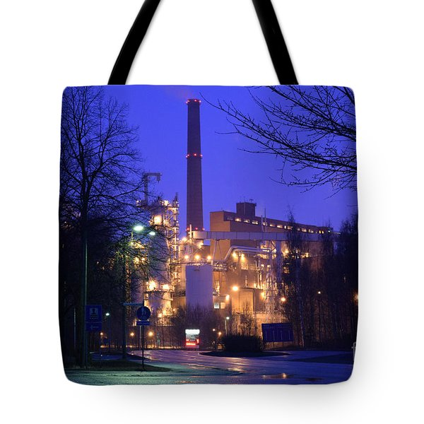 Sunila Pulp Mill By Rainy Night Tote Bag
