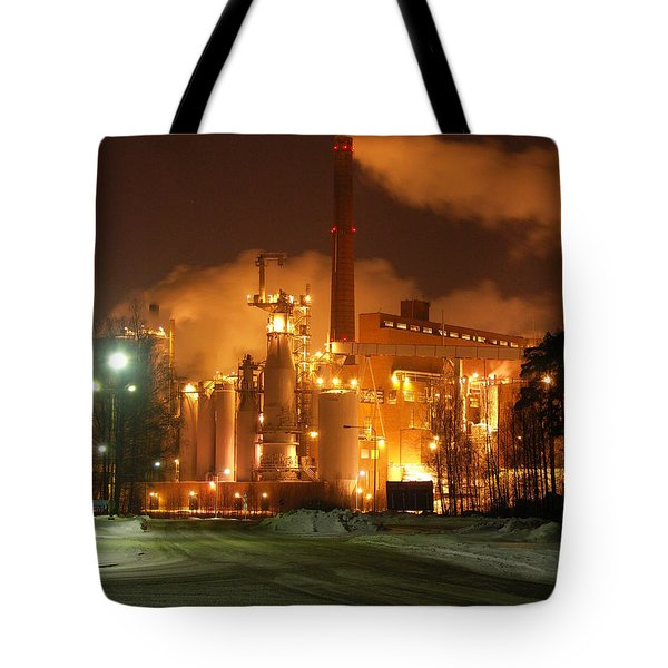 Sunila Pulp Mill By Winter Night Tote Bag