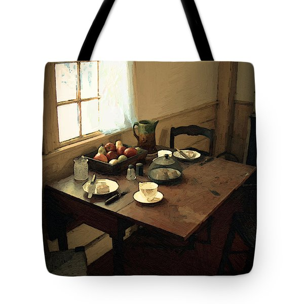 Sunlight On Dining Table Tote Bag by RC deWinter