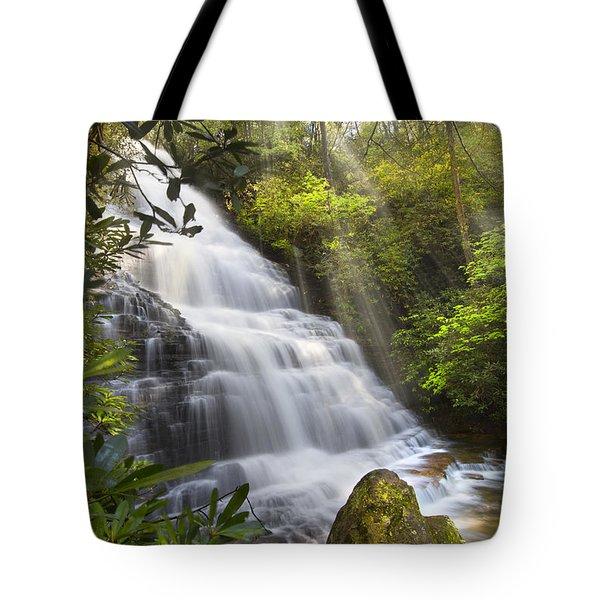 Sunlight On The Falls Tote Bag by Debra and Dave Vanderlaan