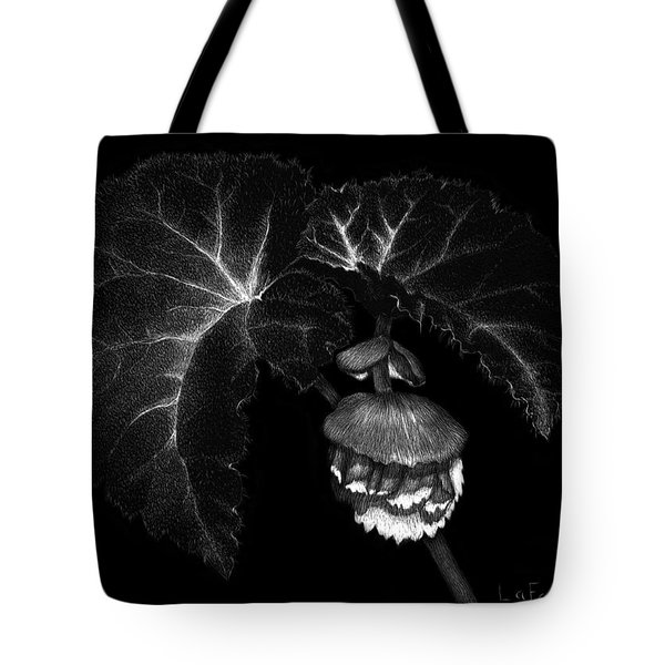 Tote Bag featuring the drawing Sunlit Begonia by Sandra LaFaut