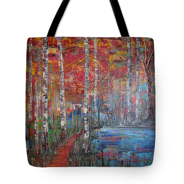 Tote Bag featuring the painting Sunlit Birch Pathway by Jacqueline Athmann