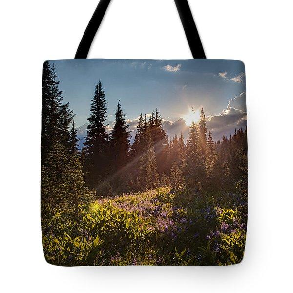 Sunlit Flower Meadows Tote Bag