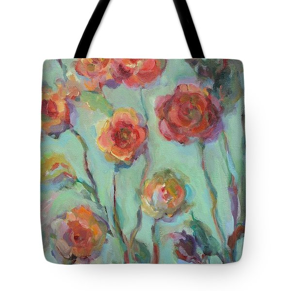 Tote Bag featuring the painting Sunlit Garden by Mary Wolf