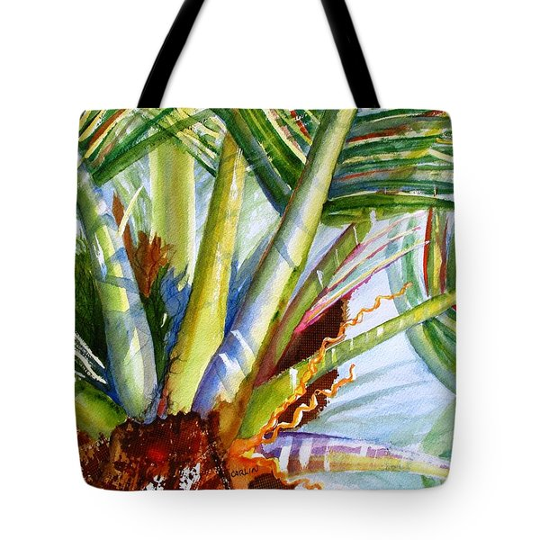 Sunlit Palm Fronds Tote Bag