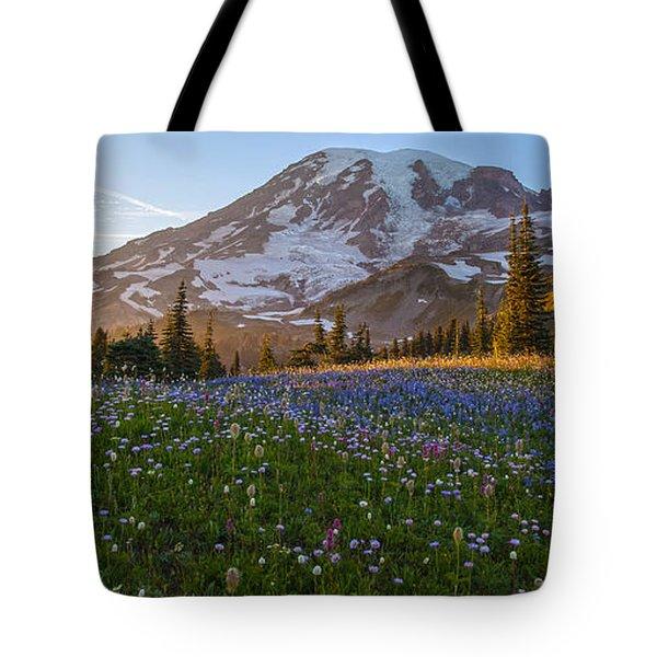 Sunlit Rainier Meadows Tote Bag by Mike Reid