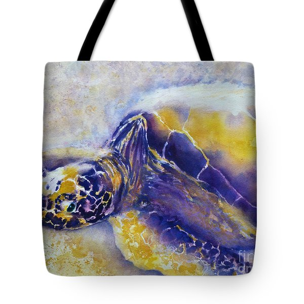 Sunning Turtle Tote Bag by Carolyn Jarvis