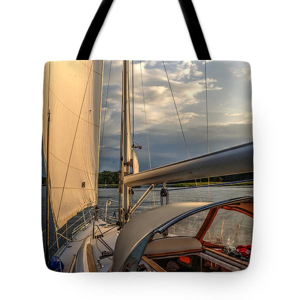 Tote Bag featuring the photograph Sunny Afternoon Inland Sailing In Poland 2 by Julis Simo