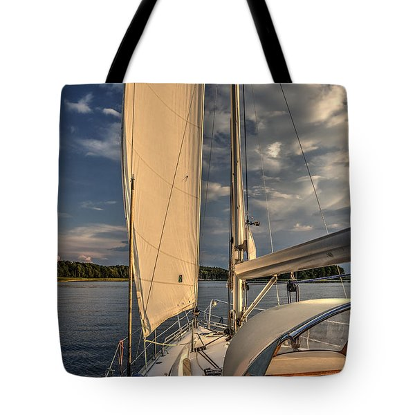 Tote Bag featuring the photograph Sunny Afternoon Inland Sailing In Poland by Julis Simo