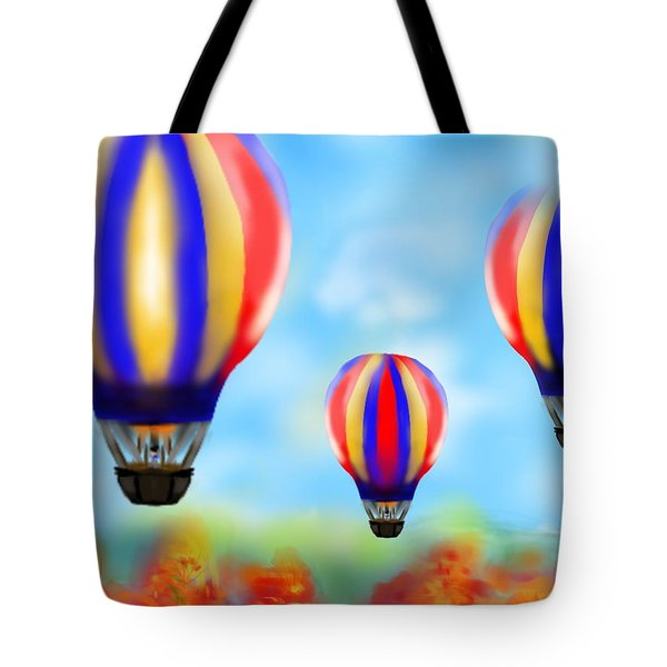 Sunny Balloon Ride Tote Bag by Christine Fournier