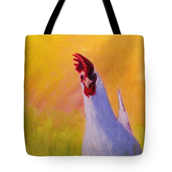 Sunny Chicken Tote Bag by Janet Greer Sammons